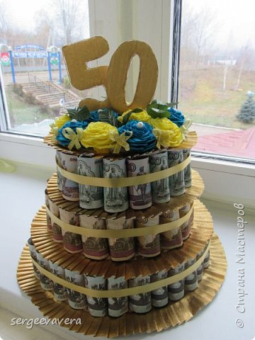 Всем добрый день. Хочу показать свой денежный тортик, который делала на юбилей. Все купюры настоящие. фото 1