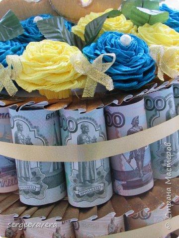Всем добрый день. Хочу показать свой денежный тортик, который делала на юбилей. Все купюры настоящие. фото 3