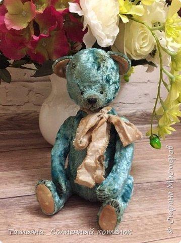 Бирюзовый малыш-мишка тедди Савушка