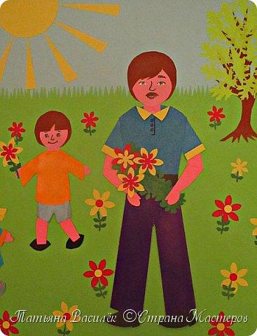 Работа для выставки к Дню Матери в детский сад. Размер - формат А3. фото 3