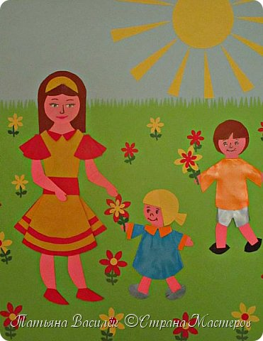 Работа для выставки к Дню Матери в детский сад. Размер - формат А3. фото 4