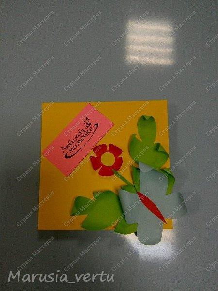 Открытка выполняется из обложки с длинами сторон 10*10 см и вложенными в нее страницами с поздравлениями с длинами сторон 9*9 см.  Внешняя часть обложки. фото 1