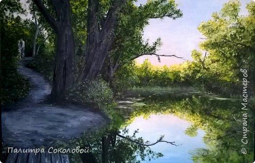 """Минули летние пленеры, а картины остались. Мне очень хотелось отразить именно момент пробуждения природы ранним утром. И """"Рассвет у реки"""" именно та работа на которой я пыталась показать всю свежесть раннего утра. фото 1"""