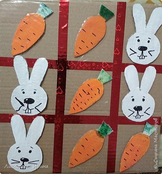 Сделали вместе с Машей игру. Крестики нолики заменили зайцами и морковкой фото 6