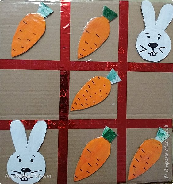 Сделали вместе с Машей игру. Крестики нолики заменили зайцами и морковкой фото 7