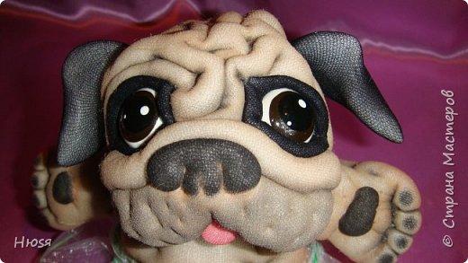 """Здравствуйте, Уважаемые мастера и мастерицы!  Ещё одно Новогоднее произведение получилось.""""КТО Я?"""" Пёсик выполнен в технике :""""Скульптурный текстиль"""". Материал: капрон, синтепон . Размер: 17:16 см  фото 11"""
