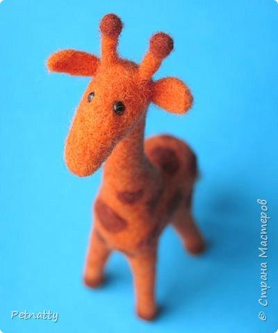 Жирафик на проволочном каркасе (синель), рост 18 см. Решила попробовать сухое валяние. фото 1