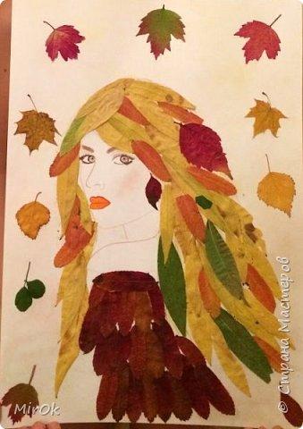 """Для работы использовали: 1) Лист бумаги акварельной (плотность 200гр) 2) Клей """"Титан"""" 3) Сухие осенние листья (листья Ивы, листья Рябины) 4) Акварельные карандаши (цветные карандаши). фото 6"""