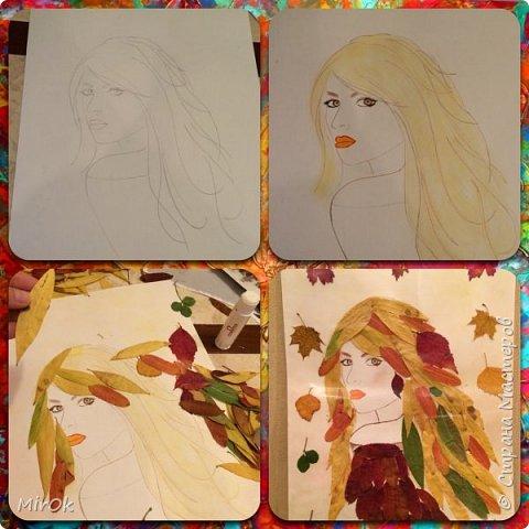 """Для работы использовали: 1) Лист бумаги акварельной (плотность 200гр) 2) Клей """"Титан"""" 3) Сухие осенние листья (листья Ивы, листья Рябины) 4) Акварельные карандаши (цветные карандаши). фото 2"""