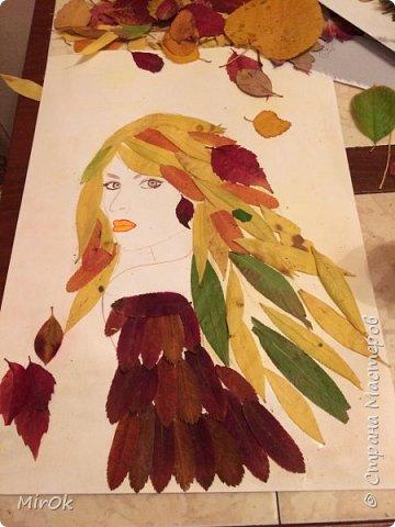 """Для работы использовали: 1) Лист бумаги акварельной (плотность 200гр) 2) Клей """"Титан"""" 3) Сухие осенние листья (листья Ивы, листья Рябины) 4) Акварельные карандаши (цветные карандаши). фото 5"""