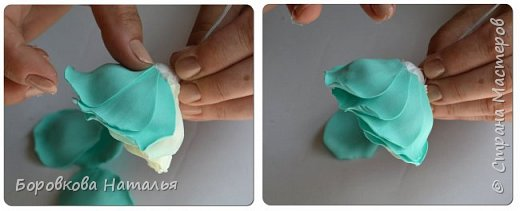 Создаем двухцветную розу «Инь-Янь» из фоамирана фото 23