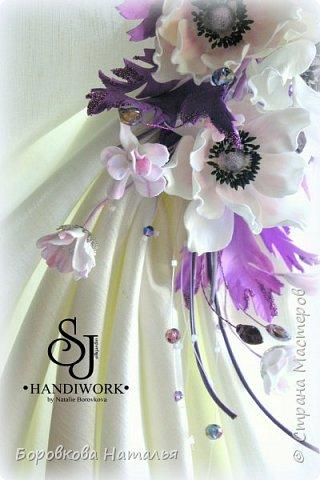 """ЦВЕТЫ ИЗ ФОАМИРАНА Декор для штор подхват """"Барокко""""  Украшение для штор в виде различных цветов выполнен из  ФОМ ЭВА - """"ФОАМИРАН"""" (это пористая резина, пластичная замша). Цветы из этого материала можно мять, они легко возвращают свою форму. Имеют приятную бархатистую поверхность, не мнутся, не ломаются, очень легкие. Не боятся попадания влаги!  Крепёж универсальный - зажим+булавка на крупной металлической основе. Композиция декорирована стразами, бисером, и мелкими цветочками. Рекомендуется крепить на жёсткий тросик с магнитом для штор. Возможно исполнение в любой цветовой гамме.    фото 4"""