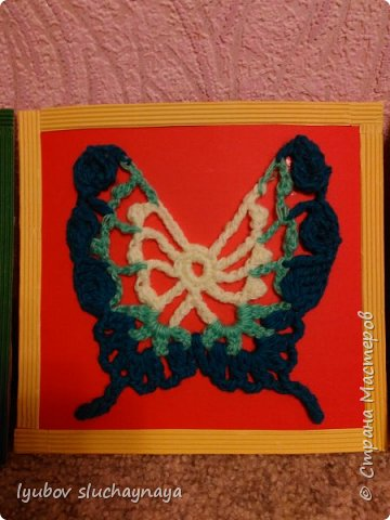 Три бабочки - аппликация вязанная крючком фото 3