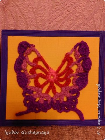 Три бабочки - аппликация вязанная крючком фото 4