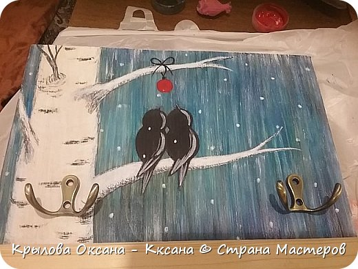 Здравствуйте !! Продолжаю рисовать (точнее разукрашивать)) на дощечках , очередные ключницы , пока без крючков . фото 10