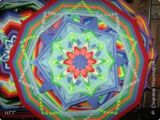 Мандала Солнцеворот из акриловой пряжи. фото 2