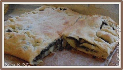 Пирог с солеными грибами, чесноком и вареной картошкой фото 1