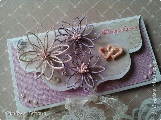 Свадебный конверт.Полоски 2 мм. фото 1