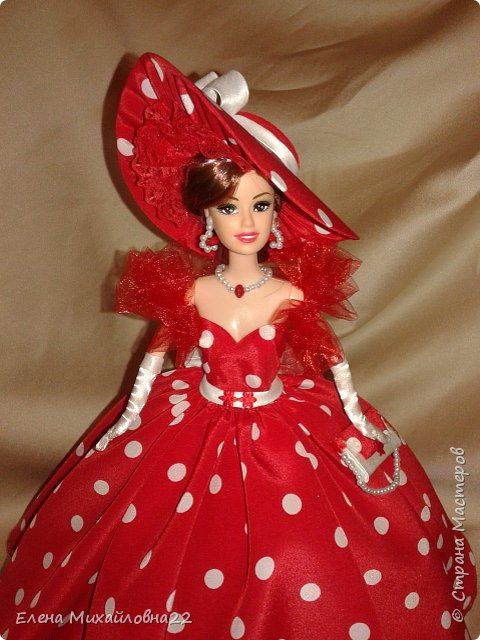 Дама в красном....(кукла-шкатулка) фото 11