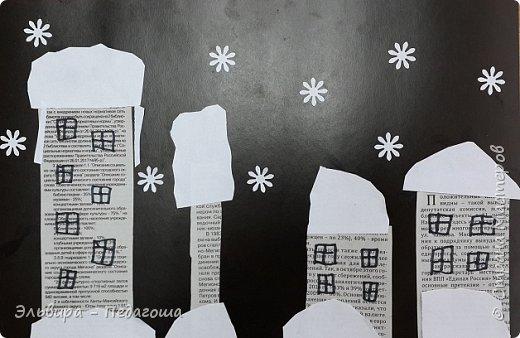 """Эту аппликацию мы назвали """"Мегионская зимняя ночь""""  Зимняя ночь - это понятно, фон тёмный, белые шапки снега, снежинки, сугробики снега,  а вот почему Мегионская??? Потому что сами домики вырезаны из газеты """"Мегионские новости"""". Это наша местная газета.  фото 11"""