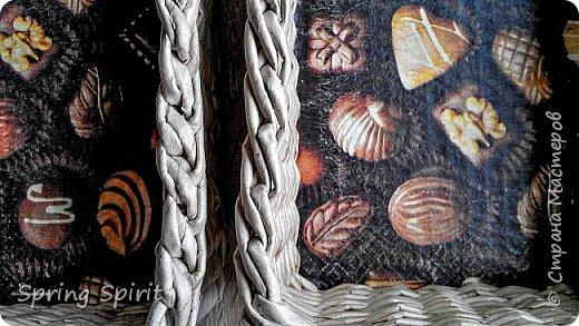 Доброго дня всем жителям Страны!  Вот я с очередными плетёнками. Трубочки тут у меня разные, одни длинные, другие покороче, но в плетении это не сильно заметно. Красила водными морилками в смеси Дуб и Палисандр, сильно разбавленными водой. фото 4
