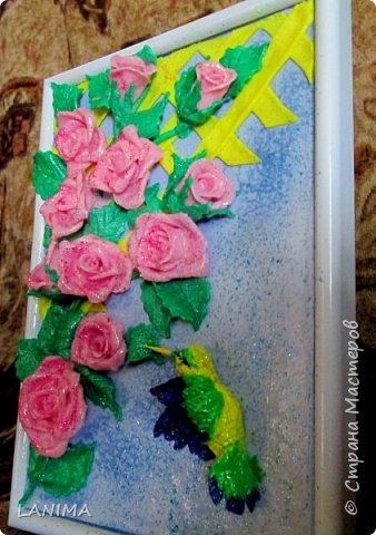 осень,сырость туманы,а так хочется назад в лето... вот и слепила розы, тут и птичка прилетела,как без неё.. фото 3