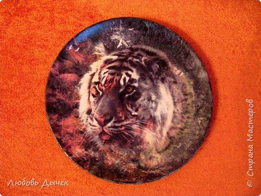 Всем доброго времени суток! Самое время начать подготовку к Новому году, а у меня вдруг появилось острое желание декорировать керамические тарелочки с использованием цветных распечаток на лазерном принтере с изображением тигров. Работы выполнены в технике декупаж методом вживления. фото 2