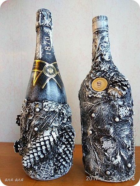 Добрый вечер, Страна!!! Продолжаю подготовку к НГ, декорирую новогодний напиток, это уже вторая часть, декор в разной технике, кому интересно, задержитесь и потратьте немного своего времени, мне будет очень приятно!!!! фото 11