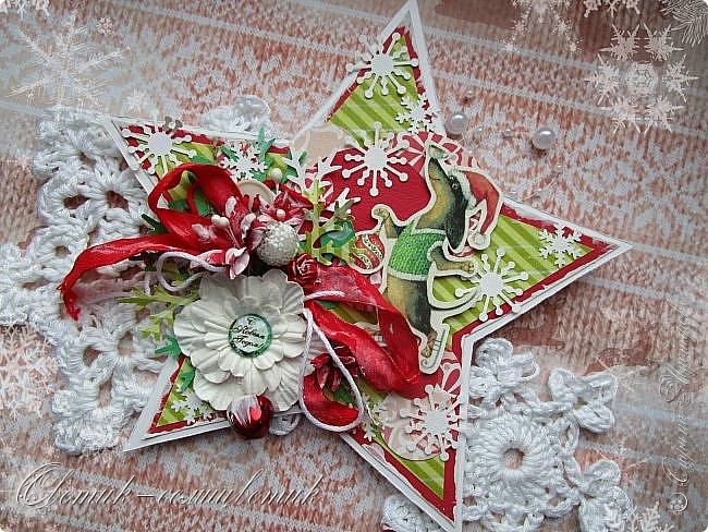 Здравствуйте все! Сегодня у меня открытки в красно-зеленых цветах. Первая звезда. фото 6