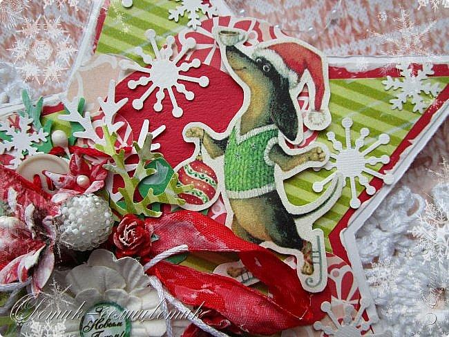 Здравствуйте все! Сегодня у меня открытки в красно-зеленых цветах. Первая звезда. фото 7