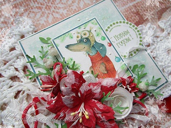 Здравствуйте все! Сегодня у меня открытки в красно-зеленых цветах. Первая звезда. фото 10
