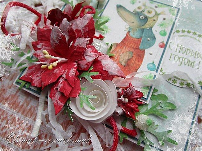 Здравствуйте все! Сегодня у меня открытки в красно-зеленых цветах. Первая звезда. фото 11