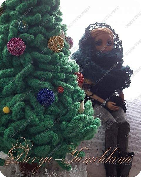 Снуд для куклы из остатков пряжи. фото 3