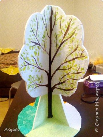 """В садик попросили сделать дерево """"Времена года""""""""  Сделала основу из картона, предварительно нарисовав его шаблон фото 4"""