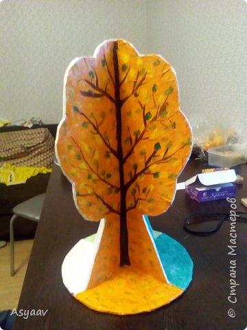 """В садик попросили сделать дерево """"Времена года""""""""  Сделала основу из картона, предварительно нарисовав его шаблон фото 6"""
