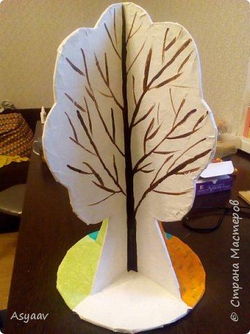 """В садик попросили сделать дерево """"Времена года""""""""  Сделала основу из картона, предварительно нарисовав его шаблон фото 3"""
