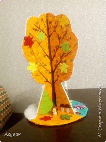 """В садик попросили сделать дерево """"Времена года""""""""  Сделала основу из картона, предварительно нарисовав его шаблон фото 9"""