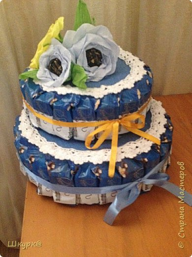 Данный тортик делали с дочкой классному рукодителю на день Рождения. фото 1