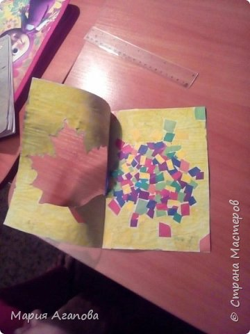 Я вырезала из цветной бумаги квадратики и наклеила . Ещё разукрасила открытку. Нарисовала облака и небо. фото 2