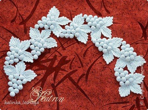 Воротник «Виноградная лоза» крючком ирландское кружево цвет серебро фото 1