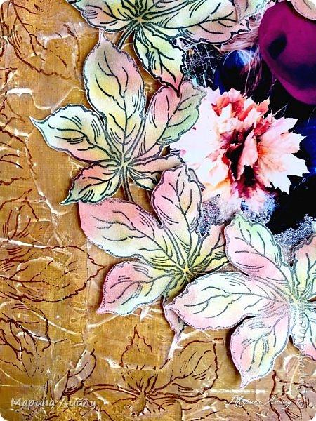 """Девочка-осень кленовые листья Бросала к ногам разноцветным букетом. Подкралась неслышно, совсем уже близко, Пришла к нам с дыханием ветра.   Шла девушка-осень, дразнила нарядом, Теплеющем в бархатном свете. И девочкой той, встретившись взглядом, Мы вдруг забываем о лете. (Алексей Мальцев)  Всем привет! Еще в рамках СП """"ФСС-5. Флюиды красок"""" сделала холст. Теперь он украшает мою небольшую мастерскую.  фото 3"""