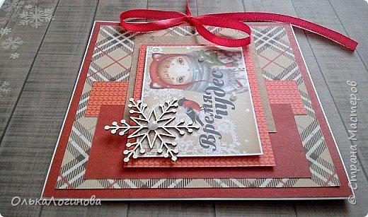 """Доброго дня,дорогие жители и гости страны мастеров!Подготовка к Новому году движется полным ходом))сотворилось у меня еще пара открыток и шоколадница,приглашаю посмотреть)Для основы ватман,верх бумага для скрапбукинга от ScrapMir коллекции """"Rustic Winter"""" и """"Nordic Spirits"""",украшения:высечки """"Rustic Winter"""",чипбор,хлопковая нить,вырубка снежинок,цветы пуансетии,декоративные деревянные пуговички,бусины,полубусины. Первой покажу шоколадницу с замечательной,нежной картинкой и позитивной надписью)на завязочки надо бы вощенный шнур конечно..но что имеем с тем и работаем))слои приподняты на пивной картон. фото 14"""