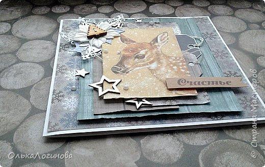 """Доброго дня,дорогие жители и гости страны мастеров!Подготовка к Новому году движется полным ходом))сотворилось у меня еще пара открыток и шоколадница,приглашаю посмотреть)Для основы ватман,верх бумага для скрапбукинга от ScrapMir коллекции """"Rustic Winter"""" и """"Nordic Spirits"""",украшения:высечки """"Rustic Winter"""",чипбор,хлопковая нить,вырубка снежинок,цветы пуансетии,декоративные деревянные пуговички,бусины,полубусины. Первой покажу шоколадницу с замечательной,нежной картинкой и позитивной надписью)на завязочки надо бы вощенный шнур конечно..но что имеем с тем и работаем))слои приподняты на пивной картон. фото 11"""