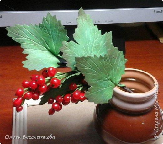 Ягодка сделаны из горячего клея, а листочки из Фома.  фото 2