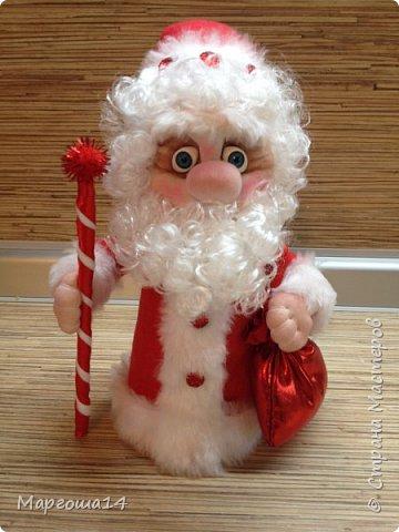 Привет,Страна Мастеров!!! Продолжаем готовиться к Новому Году. Дед Мороз - рост (без шапочки) 17 см,в ручки вставлена проволока. фото 1