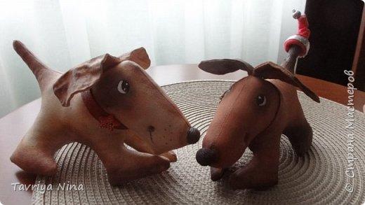Собачки выполнены из бязи , размер 8*18см. Роспись-акриловые краски. фото 1