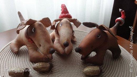 Собачки выполнены из бязи , размер 8*18см. Роспись-акриловые краски. фото 2