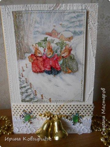 Три новогодние открытки со зверушками. фото 4