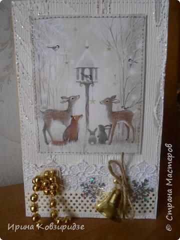 Три новогодние открытки со зверушками. фото 7