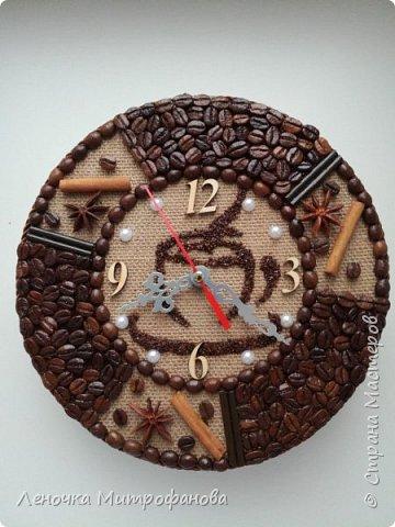 Наконец то я попробовала сделать часы из кофе. Диаметр 22 см  фото 2